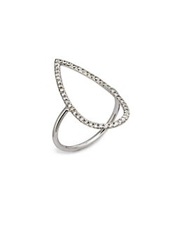 Diane Kordas - Diamond Embellished 18K White Gold Pear Frame Ring