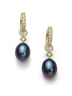Jude Frances - Diamond and Black Pearl Briolette Earring Charms