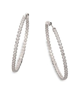Jude Frances - White Sapphire and Sterling Silver Hoop Earrings/3