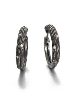Jude Frances - Grey Diamond and Sterling Silver Hoop Earrings/1.5