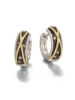 Jude Frances - Grey Diamond, Sterling Silver and 18K Yellow Gold Hoop Earrings/1