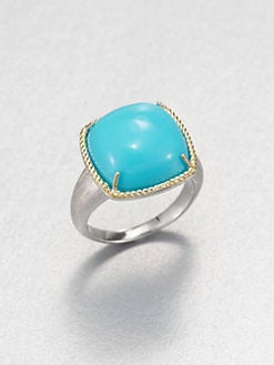 Jude Frances - Turquoise Cushion Cut Ring