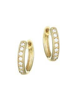 Jude Frances - Diamond & 18K Yellow Gold Hoop Earrings/0.5