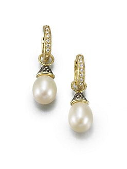 Jude Frances - Grey Diamond & Pearl Earring Charms