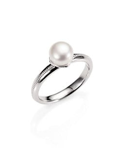 Jude Frances - Freshwater Pearl, Diamond and Sterling Silver Ring