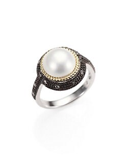 Jude Frances - Grey Diamond, White Mabé Pearl, Sterling Silver and 18K Yellow Gold Ring