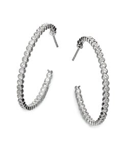 Jude Frances - White Sapphire Hoop Earrings