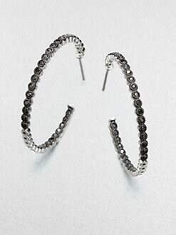 Jude Frances - Black Spinel Hoop Earrings