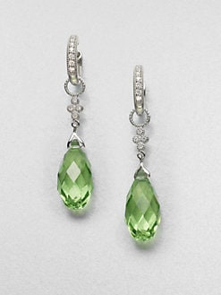 Jude Frances - Diamond Accented 14K White Gold Briolette Drop Earring Charms/Green Quartz