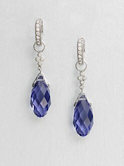 Jude Frances - Diamond Accented 14K White Gold Briolette Drop Earring Charms/Blue Quartz