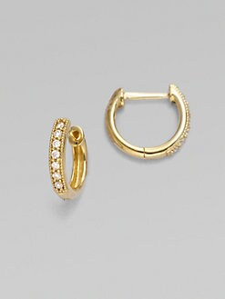 Jude Frances - Diamond & 18K Yellow Gold Hoop Earrings/ &frac12