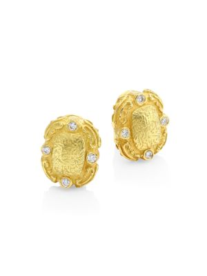 Coskey's Column Small 18K Yellow Gold & Diamond Clip-On Earrings