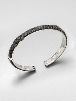 Jude Frances - Black Spinel Sterling Silver Bangle Bracelet