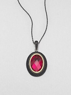 Jude Frances - Black Spinel Accented 18K Gold & Sterling Silver Fuchsia Quartz Enhancer