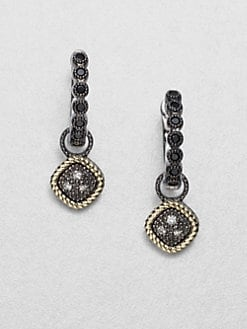 Jude Frances - Grey Diamond Accented 14K Gold & Sterling Silver Diamond-Shaped Charms