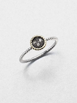 Jude Frances - Grey Diamond Accented 14K Gold & Sterling Silver Round Ring