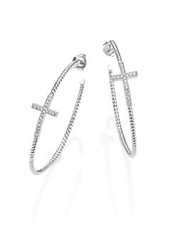 Jude Frances - White Sapphire and Sterling Silver Cross Hoop Earrings/2