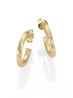 Jude Frances - 18K Brushed Yellow Gold Hoops Earrings/.6