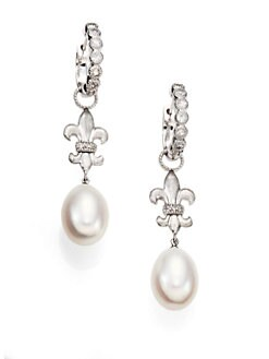 Jude Frances - White Sapphire, Freshwater Pearl and Sterling Silver Earring Charms