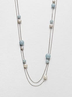 Georg Jensen - White Pearl, Aquamarine and Sterling Silver Sautoir Necklace