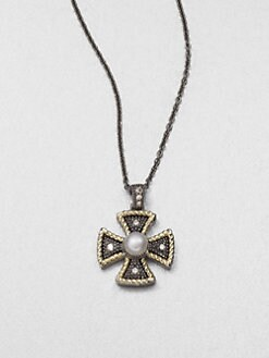 Jude Frances - Semi-Precious Multi-Stone Maltese Cross Pendant Necklace