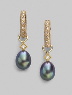 Jude Frances - Diamond, 18K Yellow Gold & Black Pearl Briolette Charms