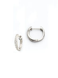 Jude Frances - Diamond & 18K White Gold Hoop Earrings/&frac12