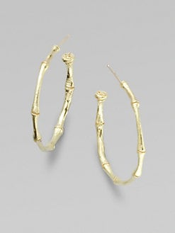 Dominique Cohen - 18K Gold Bamboo Hoop Earrings/1&#34