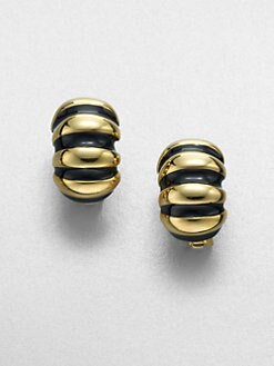 Kenneth Jay Lane - Ribbed Shrimp Clip-On Earrings/Black