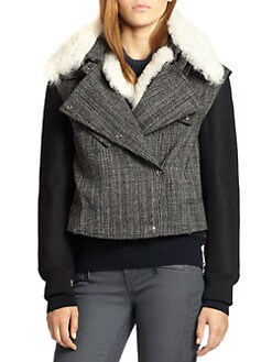 Belstaff - Ayers Shearling-Detail Tweed Moto Jacket