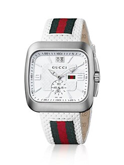 Gucci - Square Web & Leather Strap Watch