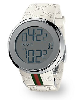 Gucci - I-Gucci Collection White Digital Watch/Green Red Green Strap
