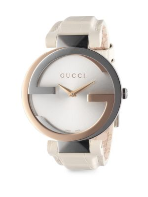 gucci stainless steel 18k yellow gold double g crocembossed leather watch