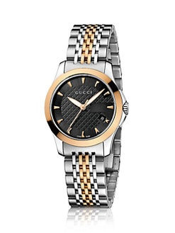 Gucci - G-Timeless Collection Watch/Stainless Steel & Yellow Gold PVD