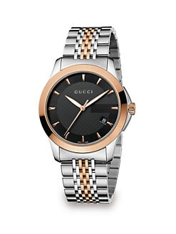 Gucci - Stainless Steel & Pink Gold PVD Watch