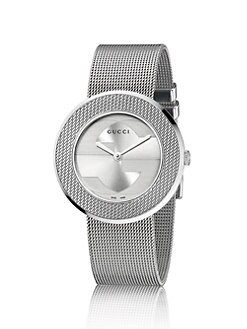 Gucci - U-Play Round Stainless Steel Mesh Bracelet Watch