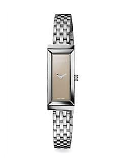 Gucci - G-Frame Stainless Steel Rectangle Watch/Brown