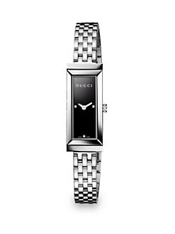 Gucci - G-Frame Diamond & Stainless Steel Rectangle Watch/Black