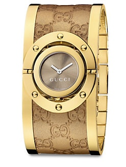Gucci - Twirl Metallic Leather Bangle Watch