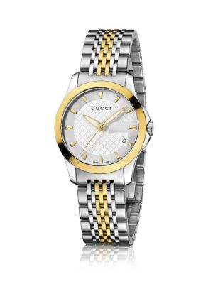 gucci female gtimeless twotone stainless steel bracelet watch
