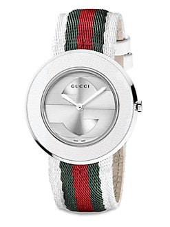 Gucci - U-Play Round Stainless Steel and Leather Strap Watch