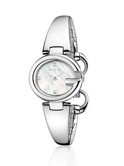 Gucci - Stainless Steel & Diamond Bangle Watch