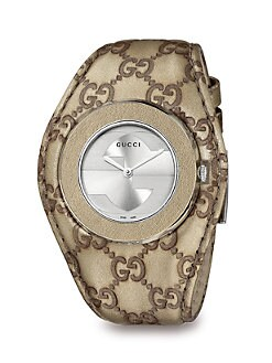 Gucci - Stainless Steel and Leather Strap Watch