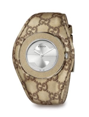 gucci female stainless steel and leather strap watch