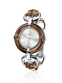 Gucci - Bamboo Accented Stainless Steel Watch/Silvertone Dial