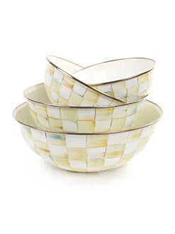 MacKenzie-Childs - Parchment Check Enamel Everyday Bowl