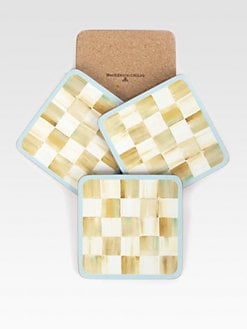 MacKenzie-Childs - Set of 4 Parchment Check Cork-Back Coasters