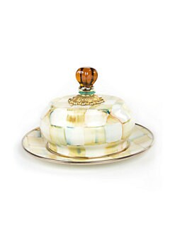 MacKenzie-Childs - Parchment Check Butter Dish