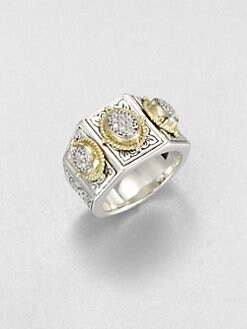 Konstantino - Sterling Silver & 18K Gold Pave Diamond Ring