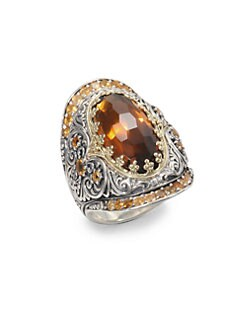 Konstantino - Cognac Quartz, Citrine, Sterling Silver an 18K Yellow Gold Ring